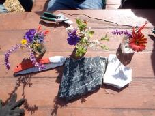 Our first flower arrangements