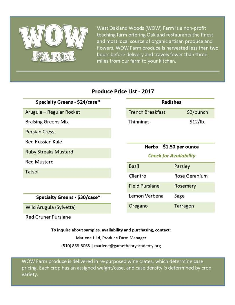 WOW Produce Price List-2017