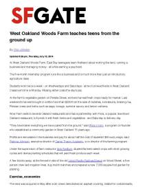 West Oakland Woods Farm teaches teens from the ground up - SFGate